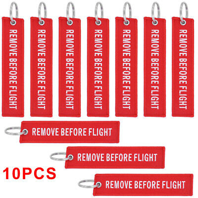10pcs Fabric White/Red Remove Before Flight Luggage Keychain Aviation Tags Rings