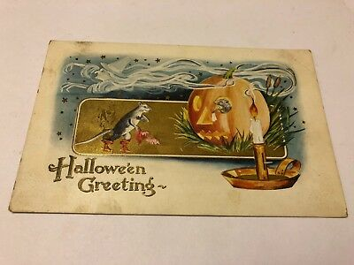 Antique Halloween Greeting Postcard w Mouse Jack O Lantern e.1900's