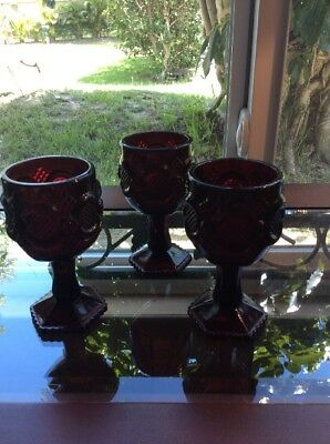 Set Of 3 Avon Vintage Goblet Wine/Water Footed Glass Cups 1876 Cape Cod Ruby Red