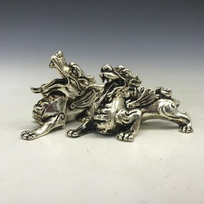 Chinese ancient pure copper pure hand-carved tiger animal statue