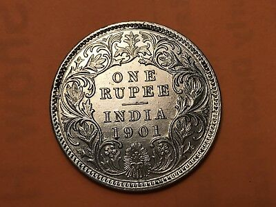 1901 British India One Rupee world coin Excellent condition high value