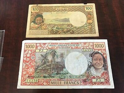 French colonies 100 and 1000 Francs world paper money good condition high value