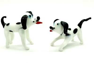 2 Hand Blown Art Glass White And Spotty Dog Figurines