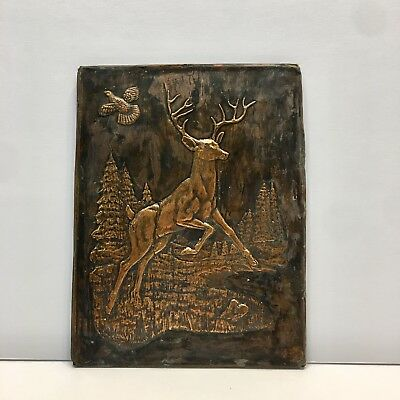 Beautiful Vintage Copper Foil Art Outdoors Scene With Deer, Bird And Trees