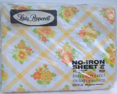 Queen Flat Sheet CHECKERBOARD FLOWER Lady Pepperell No Iron Vintage New NOS