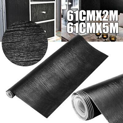Black Wood Looking Textured Self Adhesive Decor Contact Paper Vinyl Shelf Liner