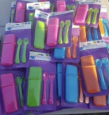Baby Toddler Cutlery Travel Set Spoon Fork Carry Case Baby Boy Girl AU Stock New