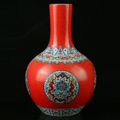 China Pastel Porcelain Hand Painted  Vase Mark  As The Qianlong  R1064.a