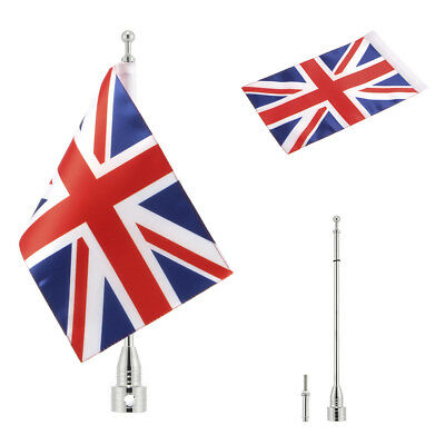 "Silver Pole Mount 6x9"" UK Britain Flag For Harley Honda Yamaha Most Motorcycle"