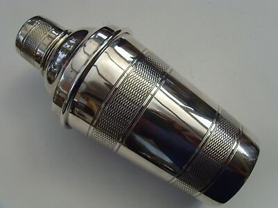 A Vintage Art Deco Silver Plated Cocktail Shaker English Made Engine Turned