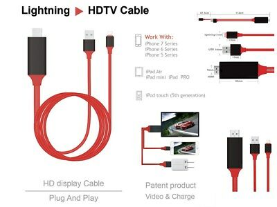 Lightning to HDMI Cable HDTV TV Digital AV Adapter for Apple iPhones&iPads 2M DU