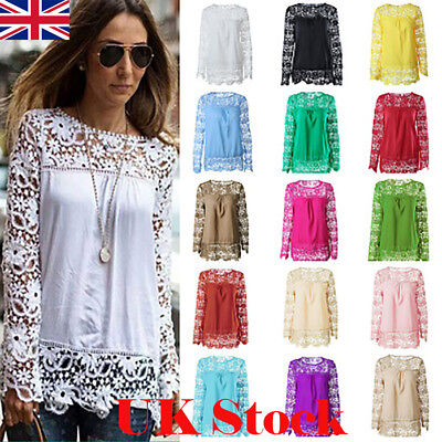 517f3b9bf1e New Women s Lace Tops Ladies Long Sleeve Hollow Out Blouse Shirt Plus Size 6 -24