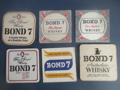 6 different BOND Australian WHISKY Coasters 1970,s, Australian  Issue