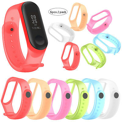 6pcs/pack Translucent Silicone Wristband Strap for Xiaomi Mi Band 3 Smart Band