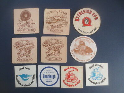 10 different BEENLEIGH RUM Coasters Collectable  Australian Issues