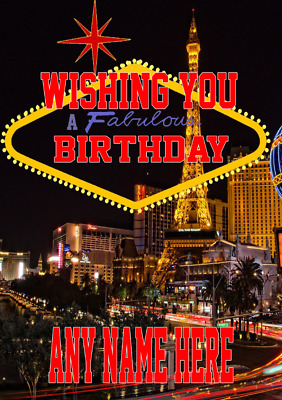 Nevada Las Vegas Mia4 Happy Birthday Card A5 Personalised Greeting