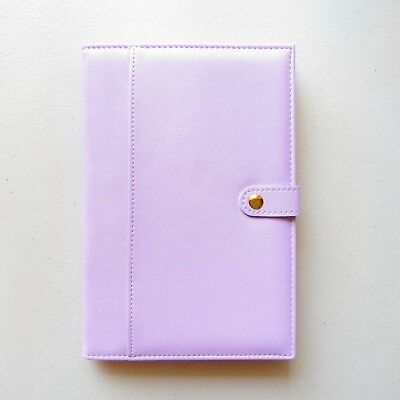 Purple A5 Lined Paper Notebook Journal Lavender Gift Travel Uni Cover PU Leather
