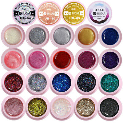 35 Colors Glitter Sequins UV Gel Polish Starry Silver Green Nail UV LED Gel 5ml