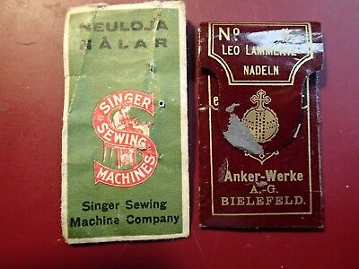 Lot of 2 ANTIQUE SEWING NEEDLES PACKAGES ANKER & SINGER ( FINLAND )