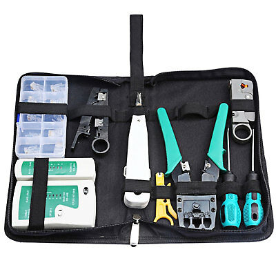 RJ45 RJ11 CAT5 LAN Network Hand Tool Kit Cable Tester Crimp Crimper Plier Set