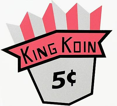 King Koin, 5 Cent. Vending, Coinop, Water Slide Decal # Dk 1040