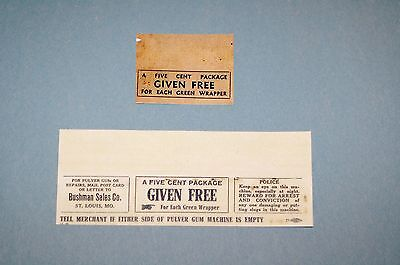 Pulver  --Free Five Cent Gum Pack Insert Cards, For Front Of Pulver Machine