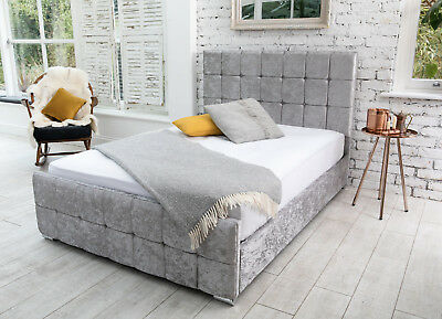 Modern Crushed Velvet Storage Fabric Bed Double Kingsize Memory Foam Mattress