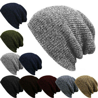 Mens' Classic Striped Baggy Slouchy Knit Beanie Loose Ski Hat Autumn Winter Cap