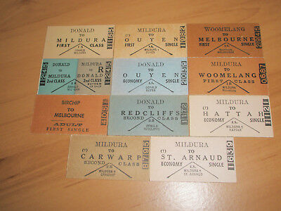 Victorian Railway Tickets Various Mildura Line Country Issues  x 11 Mint.