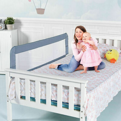 59'' Breathable Baby Children Toddlers Bed Rail Guard Safety Swing Down Gray