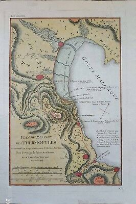 Greece, B. Du Bocage, Jean Denis Antique Map of the Battle of Thermopylae Pass
