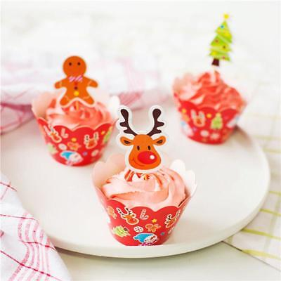 2018 Christmas Cake Muffin Cupcake Wrappers Cases Wraps Toppers Party Decor C