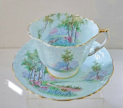 1930's Aynsley Harlequin Bluebell Wood Gilded Cup & Saucer