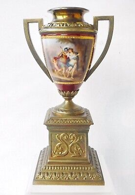 Antique Royal Vienna HP Portait Vase, Signed with Metal Mounts