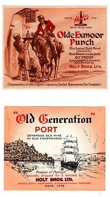 Holt Bros. Ltd., Burnham-On-Sea  Old Exmoor Punch and Old Generation Port labels