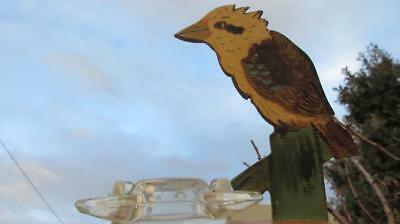 1950's Circa Crown St. Wollongong Souvenir Ashtray with Wooden Carved Kookaburra