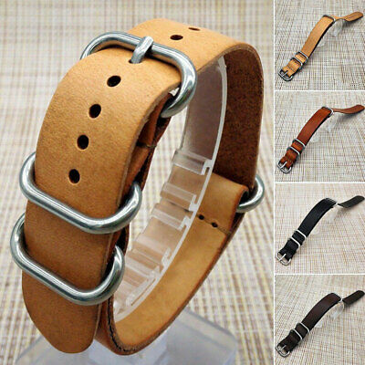 NATO Genuine Leather Army Military Wrist Watch Bands Strap 18mm/20mm/22mm/24mm
