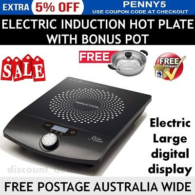 Kitchen Couture Portable 2000W Electric Induction Cooktop Ceramic Cooker And Pot