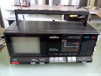 VINTAGE Saisho Television Radio TV Cassette Player FAULTY TAPE
