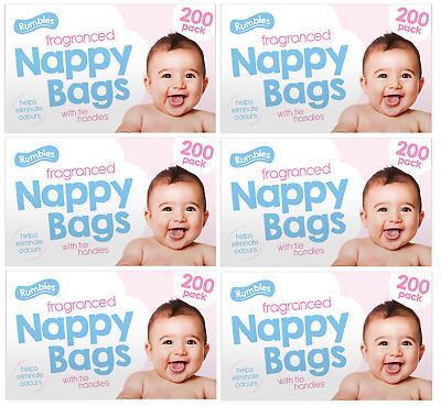 200 NAPPY BAGS Disposable Hygenic Sack Bin Fragranced Handles Scented Perfumed