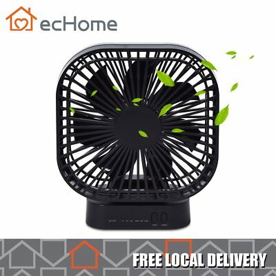 ecHome Rechargeable USB Portable Fan 3 Speed Handheld 20 Hours Cooling Air Black