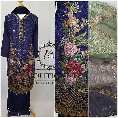 Ladies Asian Pakistani Eid Clothes New Linen Net Embroidery Sleeves