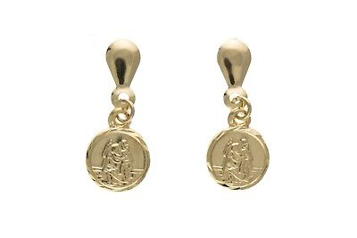 Solid Gold Saint Christopher Earrings Drop Ears 9 Carat Yellow 375 Hallmarked
