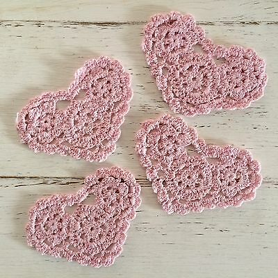 4 X New Pink 11 Cm Heart Crochet Lace Doilies/ Embellishments