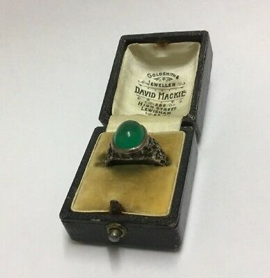 late 19th Century Chinese Silver & Jade Ring in original  box
