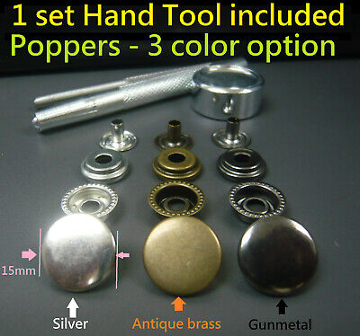 15mm Brass Poppers Snap fastener Press studs Button + Fixing tool & Hollow Punch