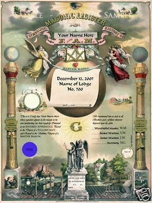 PERSONALIZED Masonic Master Mason Record Certificate ring art print 11x17