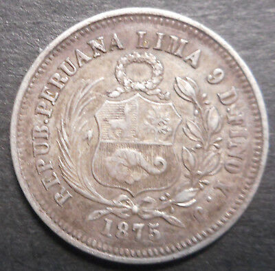 Peru 1875 YJ 1/5 sol Silver Coin Nice Better detail