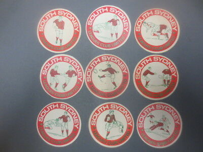 set of 9 SOUTH SYDNEY RUGBY LEAGUES CLUB 1970,s Issue collectable COASTERS