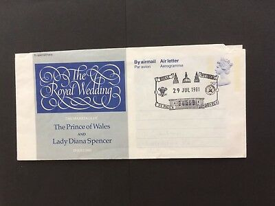 The Royal Wedding airmail letter  - Postmarked On Day Of Wedding 29/7/81